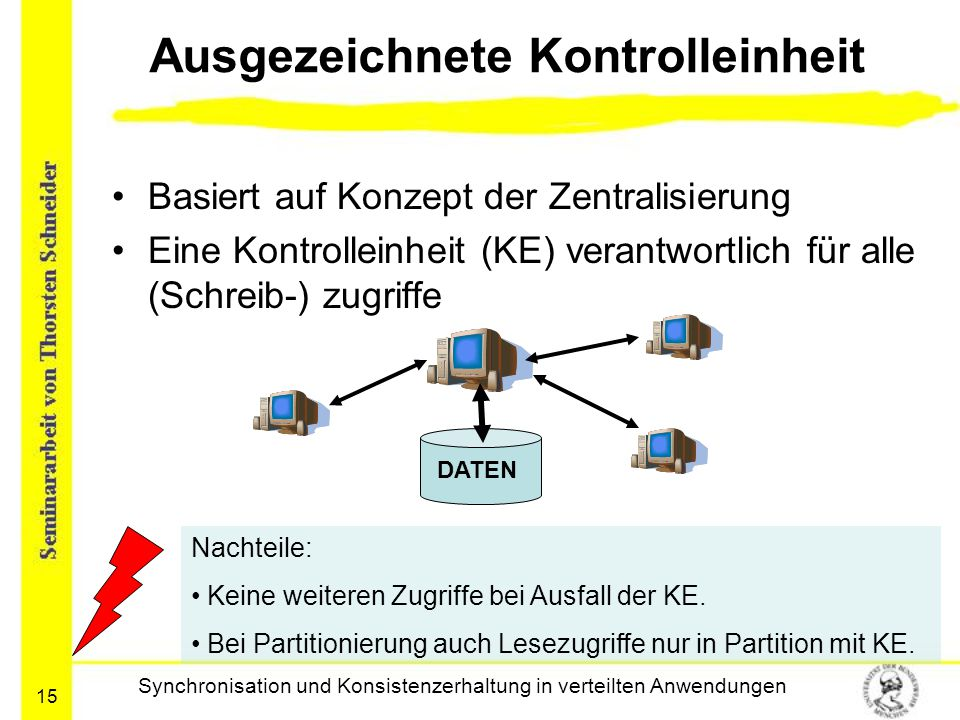 15 Ausgezeichnete Kontrolleinheit Basiert auf Konzept der Zentralisierung Eine Kontrolleinheit (KE) verantwortlich für alle (Schreib-) zugriffe Synchr