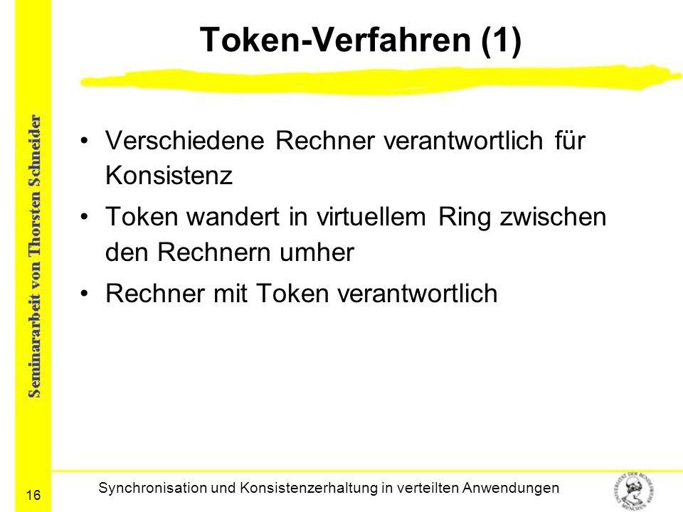 16 Token-Verfahren (1) Verschiedene Rechner verantwortlich für Konsistenz Token wandert in virtuellem Ring zwischen den Rechnern umher Rechner mit Tok