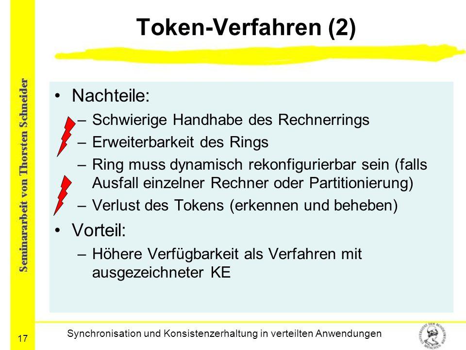 17 Token-Verfahren (2) Nachteile: –Schwierige Handhabe des Rechnerrings –Erweiterbarkeit des Rings –Ring muss dynamisch rekonfigurierbar sein (falls A