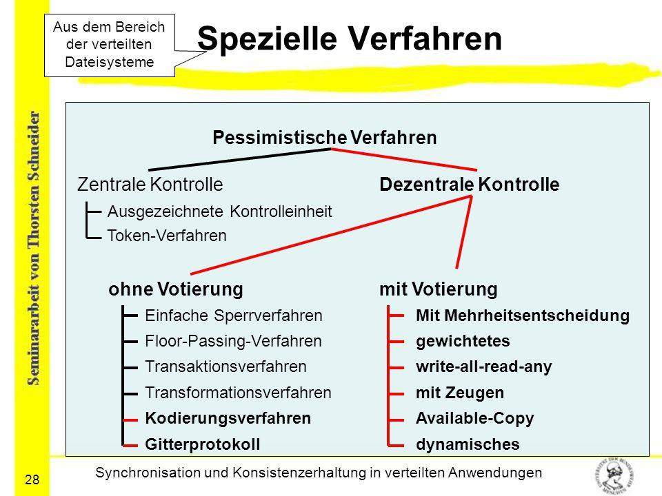 28 Spezielle Verfahren Synchronisation und Konsistenzerhaltung in verteilten Anwendungen Pessimistische Verfahren Zentrale KontrolleDezentrale Kontrol