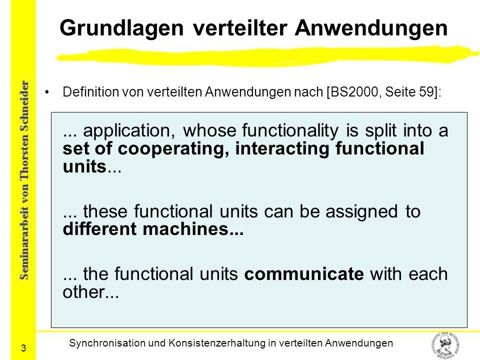 3 Grundlagen verteilter Anwendungen Definition von verteilten Anwendungen nach [BS2000, Seite 59]:... application, whose functionality is split into a