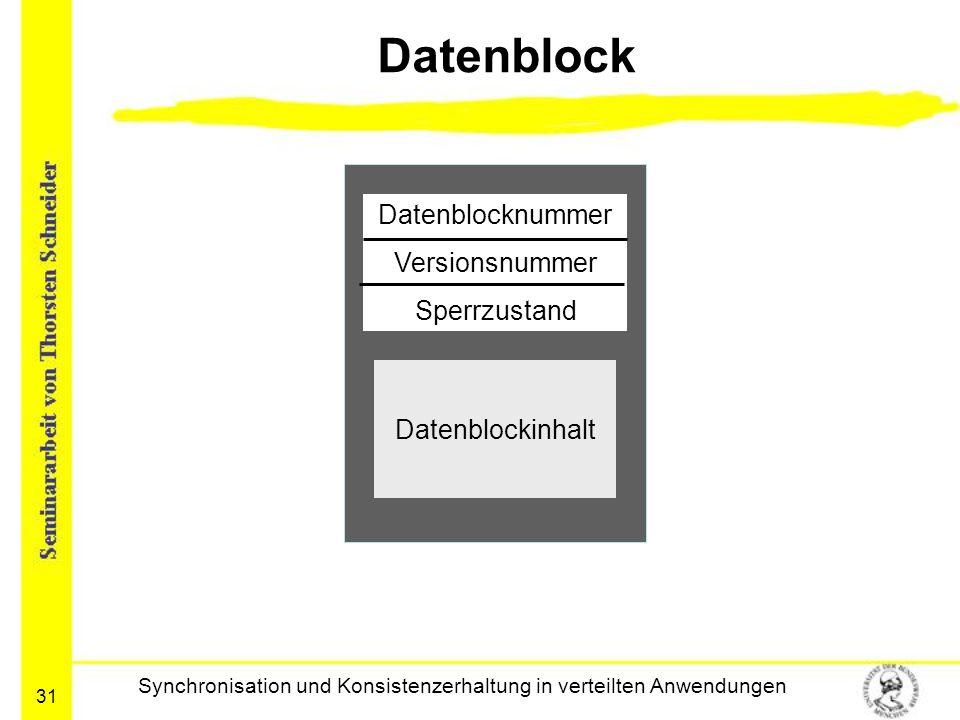 31 Datenblock Synchronisation und Konsistenzerhaltung in verteilten Anwendungen Datenblocknummer Versionsnummer Sperrzustand Datenblockinhalt