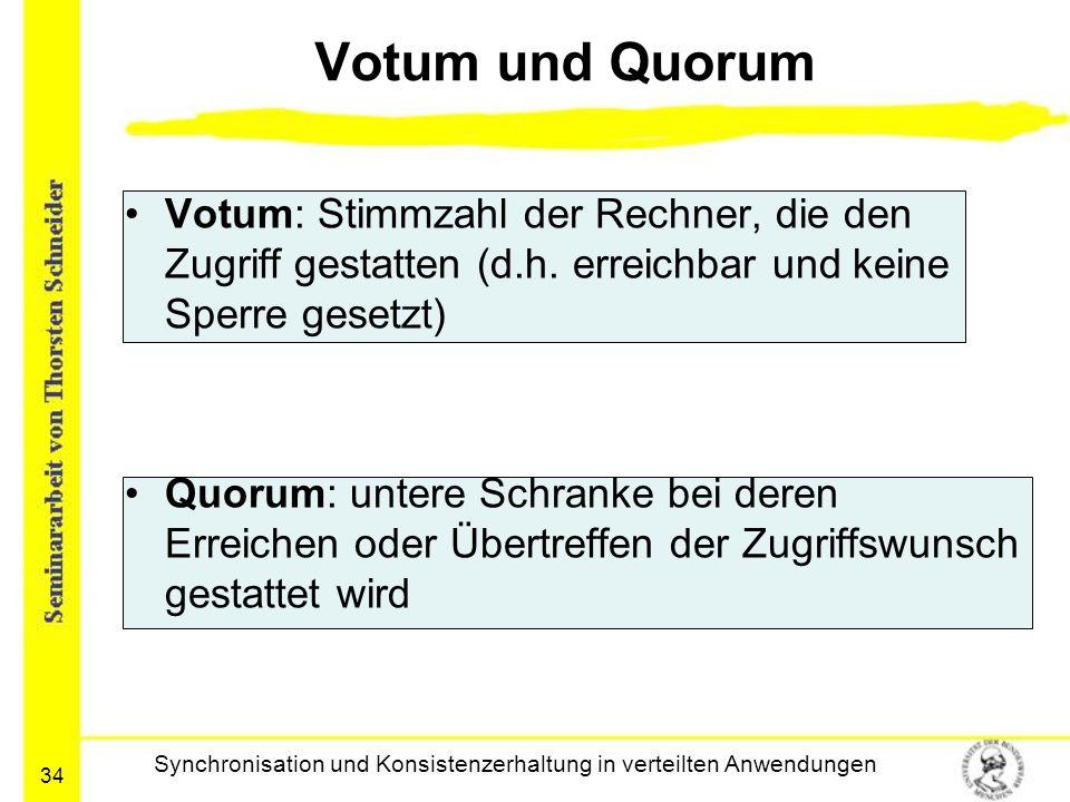 34 Votum und Quorum Votum: Stimmzahl der Rechner, die den Zugriff gestatten (d.h. erreichbar und keine Sperre gesetzt) Quorum: untere Schranke bei der