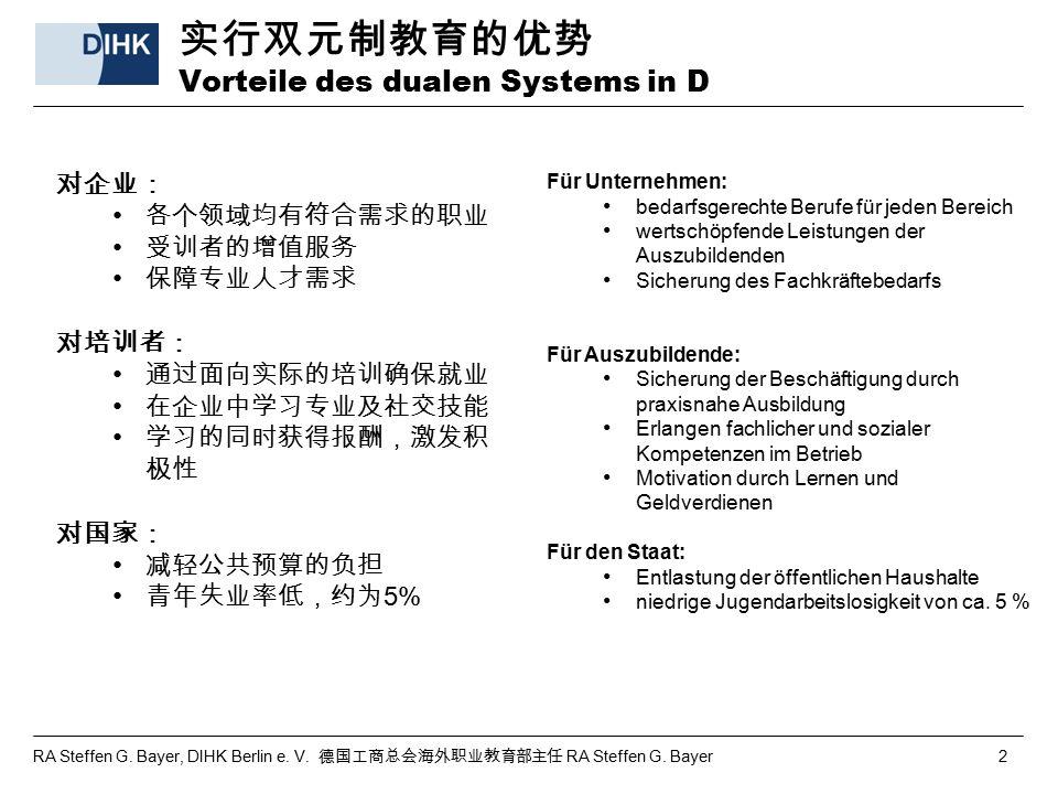 RA Steffen G. Bayer, DIHK Berlin e. V. 德国工商总会海外职业教育部主任 RA Steffen G. Bayer 2 实行双元制教育的优势 Vorteile des dualen Systems in D 对企业: 各个领域均有符合需求的职业 受训者的增值服务 保