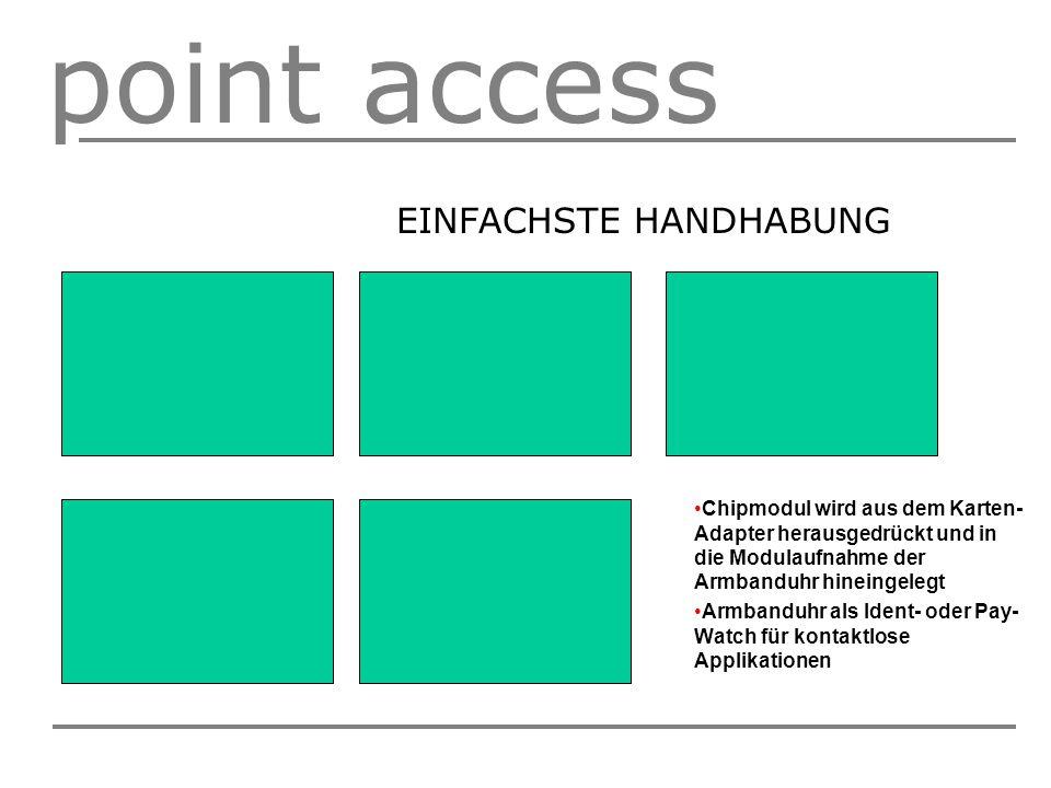 point access EINFACHSTE HANDHABUNG Chipmodul wird aus dem Karten- Adapter herausgedrückt und in die Modulaufnahme der Armbanduhr hineingelegt Armbanduhr als Ident- oder Pay- Watch für kontaktlose Applikationen