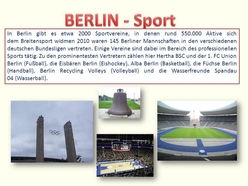 In Berlin gibt es etwa 2000 Sportvereine, in denen rund 550.000 Aktive sich dem Breitensport widmen 2010 waren 145 Berliner Mannschaften in den versch