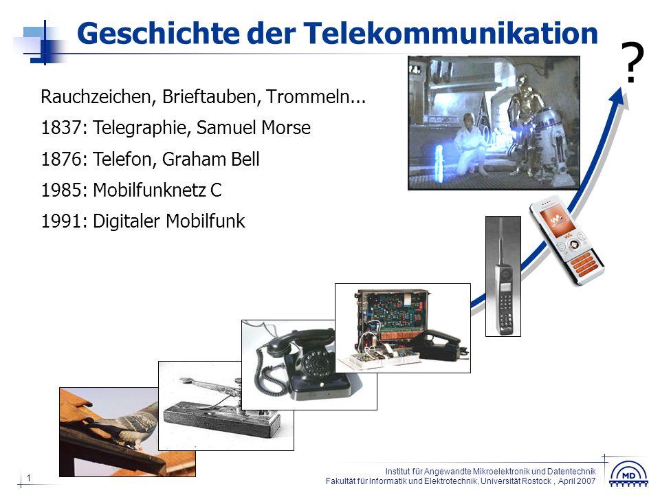 """12 Institut für Angewandte Mikroelektronik und Datentechnik Fakultät für Informatik und Elektrotechnik, Universität Rostock, April 2007 Irrglauben """"Bluetooth kommt ja nicht sooo weit…"""