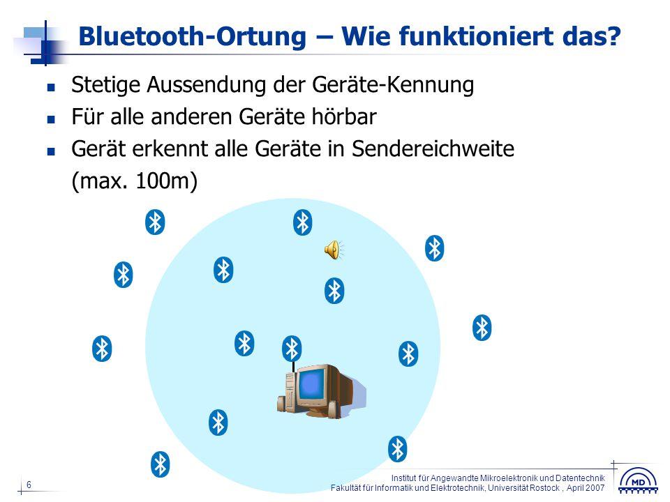 6 Institut für Angewandte Mikroelektronik und Datentechnik Fakultät für Informatik und Elektrotechnik, Universität Rostock, April 2007 Bluetooth-Ortun