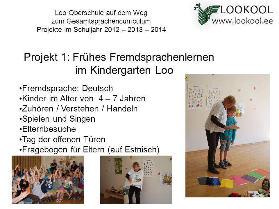 Loo Oberschule auf dem Weg zum Gesamtsprachencurriculum Projekte im Schuljahr 2012 – 2013 – 2014 Fremdsprache: Deutsch Kinder im Alter von 4 – 7 Jahre
