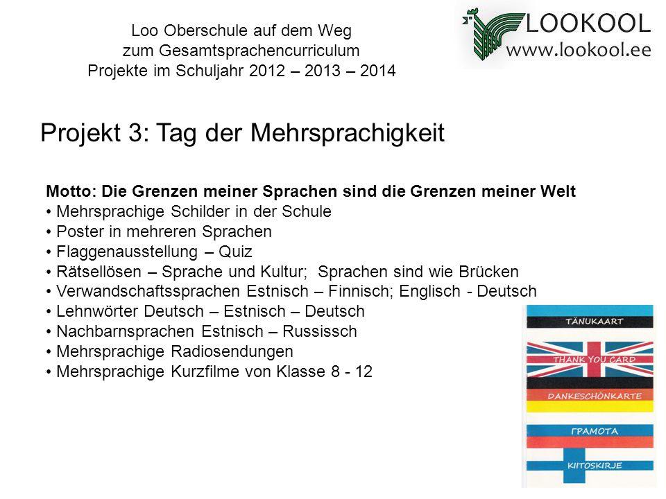 Projekt 3: Tag der Mehrsprachigkeit Motto: Die Grenzen meiner Sprachen sind die Grenzen meiner Welt Mehrsprachige Schilder in der Schule Poster in meh