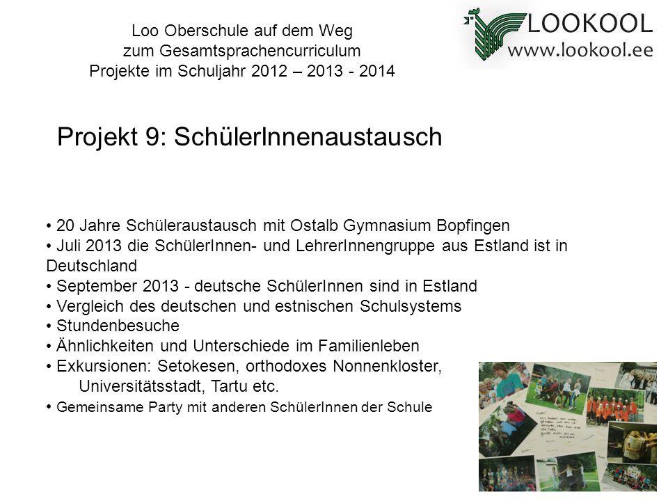 20 Jahre Schüleraustausch mit Ostalb Gymnasium Bopfingen Juli 2013 die SchülerInnen- und LehrerInnengruppe aus Estland ist in Deutschland September 20