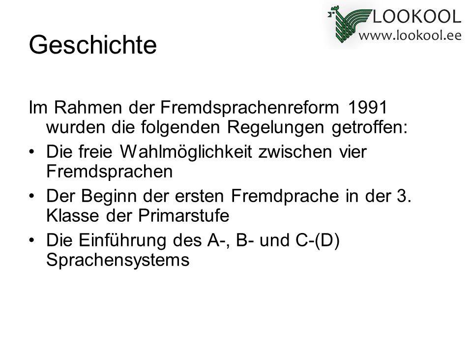 Geschichte Im Rahmen der Fremdsprachenreform 1991 wurden die folgenden Regelungen getroffen: Die freie Wahlmöglichkeit zwischen vier Fremdsprachen Der