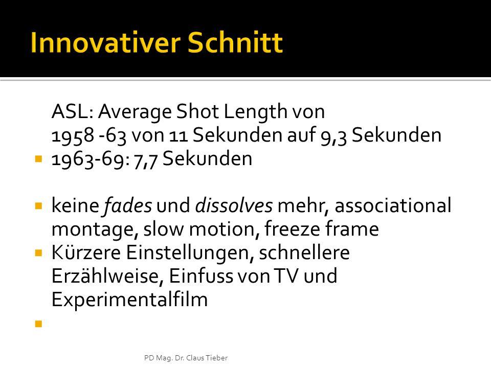 ASL: Average Shot Length von 1958 -63 von 11 Sekunden auf 9,3 Sekunden  1963-69: 7,7 Sekunden  keine fades und dissolves mehr, associational montage, slow motion, freeze frame  Kürzere Einstellungen, schnellere Erzählweise, Einfuss von TV und Experimentalfilm  PD Mag.
