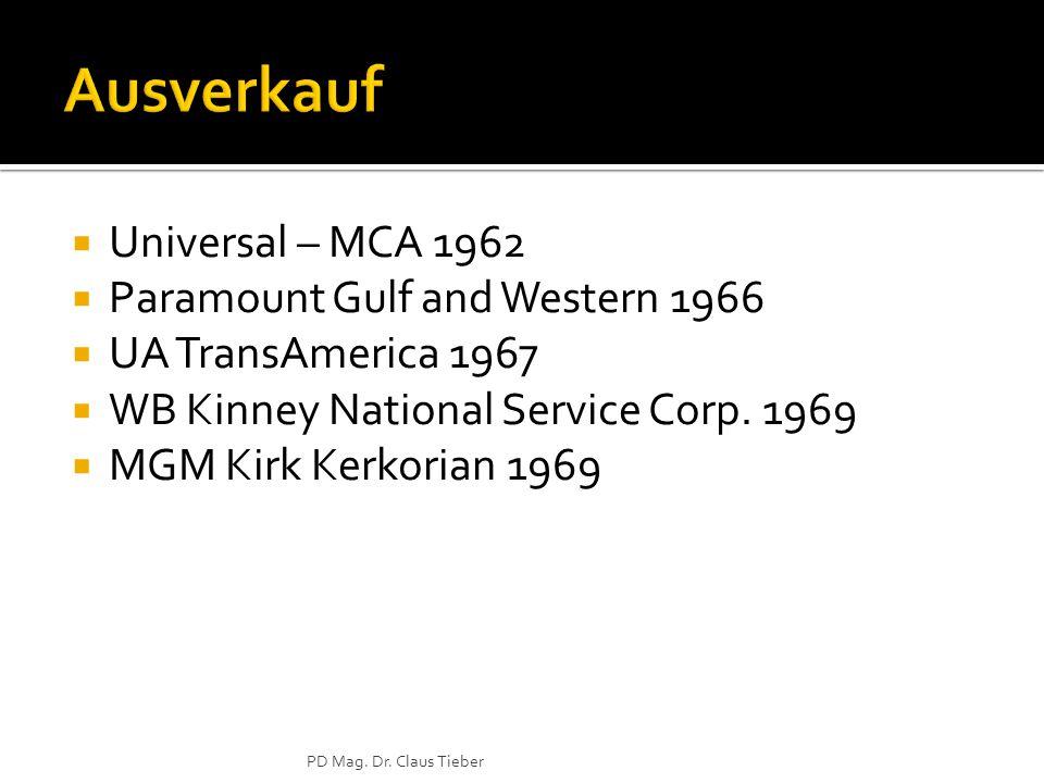  Universal – MCA 1962  Paramount Gulf and Western 1966  UA TransAmerica 1967  WB Kinney National Service Corp.