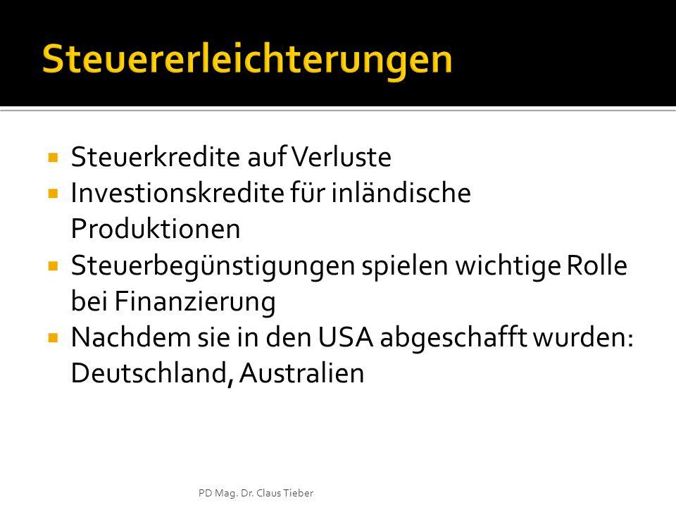  Steuerkredite auf Verluste  Investionskredite für inländische Produktionen  Steuerbegünstigungen spielen wichtige Rolle bei Finanzierung  Nachdem sie in den USA abgeschafft wurden: Deutschland, Australien PD Mag.