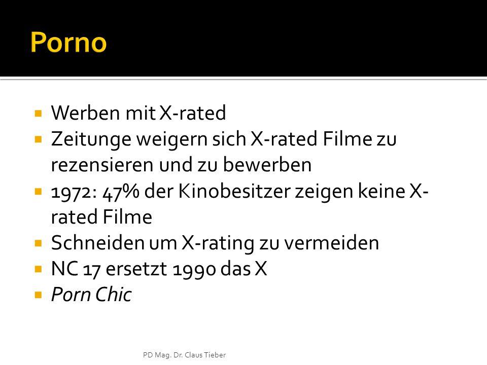  Werben mit X-rated  Zeitunge weigern sich X-rated Filme zu rezensieren und zu bewerben  1972: 47% der Kinobesitzer zeigen keine X- rated Filme  Schneiden um X-rating zu vermeiden  NC 17 ersetzt 1990 das X  Porn Chic PD Mag.