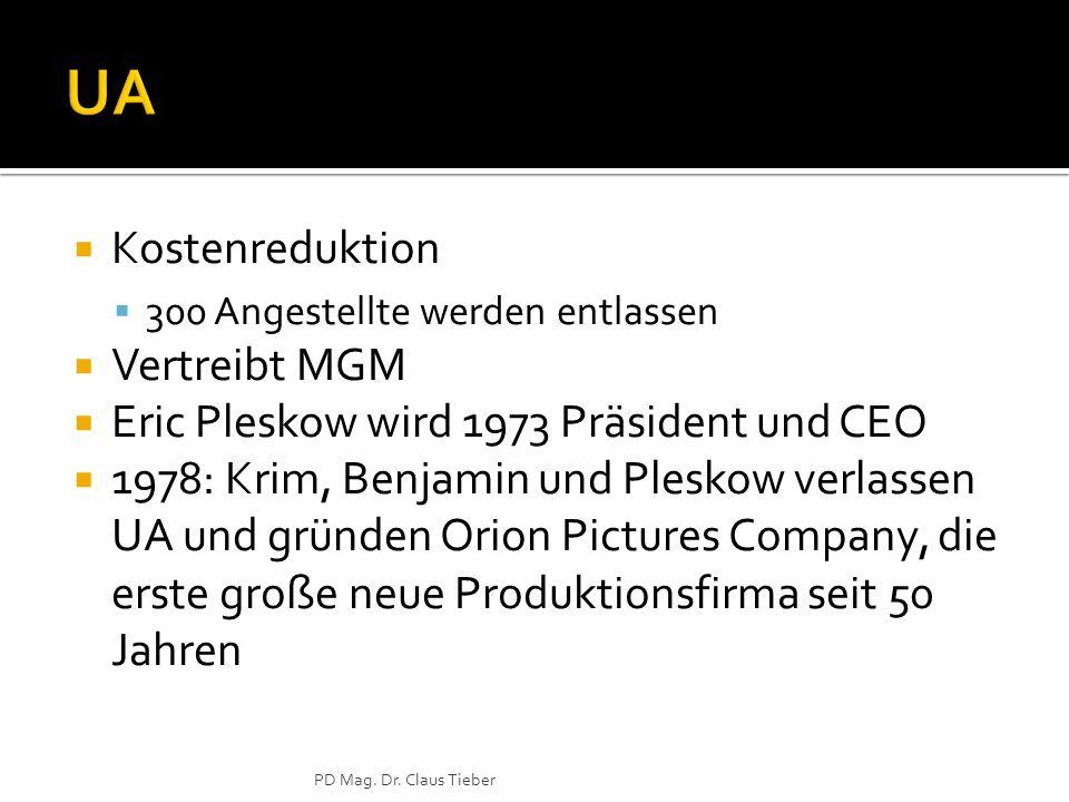  Kostenreduktion  300 Angestellte werden entlassen  Vertreibt MGM  Eric Pleskow wird 1973 Präsident und CEO  1978: Krim, Benjamin und Pleskow verlassen UA und gründen Orion Pictures Company, die erste große neue Produktionsfirma seit 50 Jahren PD Mag.