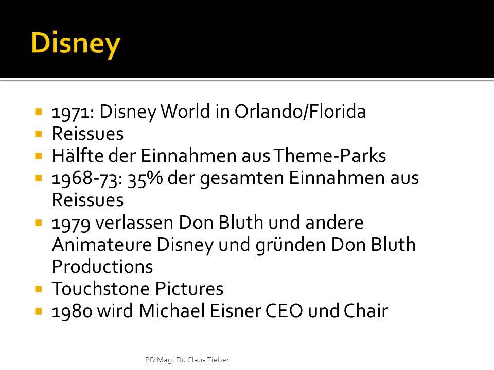  1971: Disney World in Orlando/Florida  Reissues  Hälfte der Einnahmen aus Theme-Parks  1968-73: 35% der gesamten Einnahmen aus Reissues  1979 verlassen Don Bluth und andere Animateure Disney und gründen Don Bluth Productions  Touchstone Pictures  1980 wird Michael Eisner CEO und Chair PD Mag.