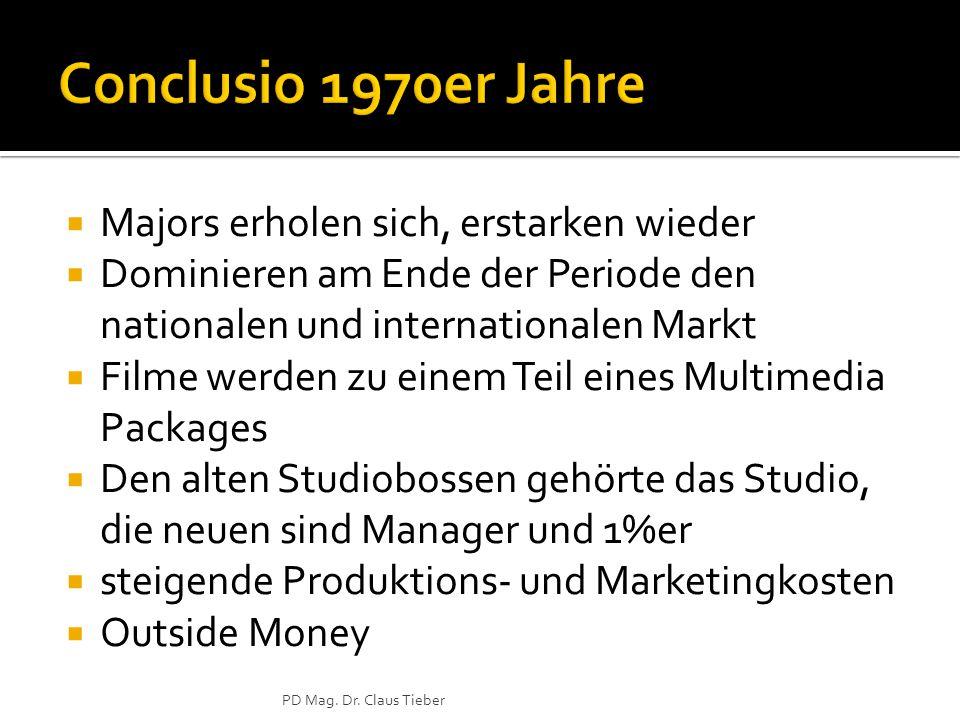  Majors erholen sich, erstarken wieder  Dominieren am Ende der Periode den nationalen und internationalen Markt  Filme werden zu einem Teil eines Multimedia Packages  Den alten Studiobossen gehörte das Studio, die neuen sind Manager und 1%er  steigende Produktions- und Marketingkosten  Outside Money PD Mag.