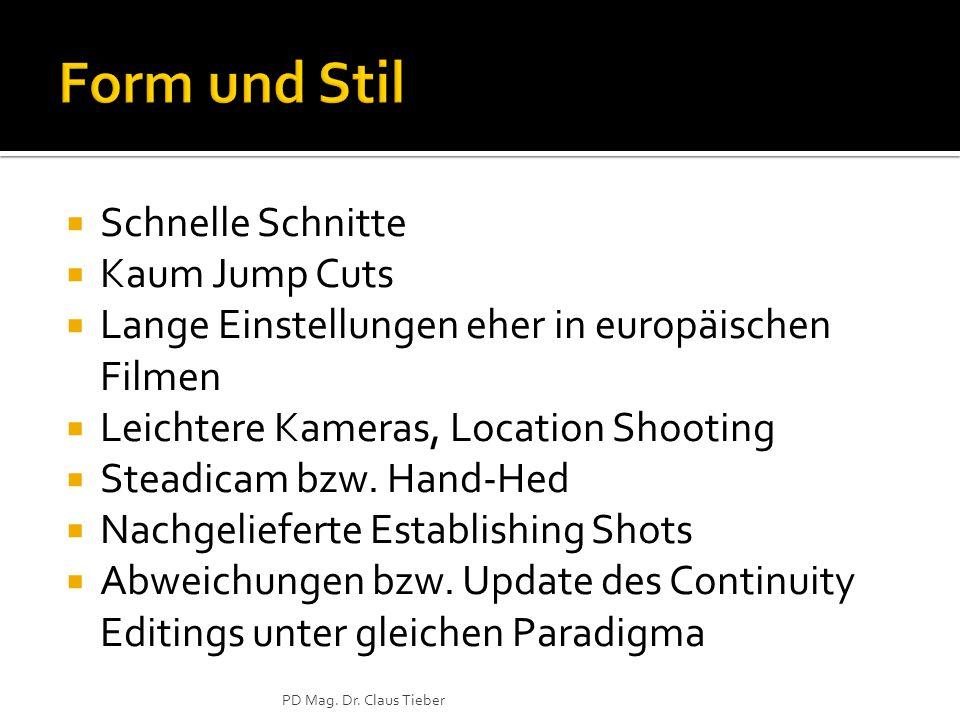  Schnelle Schnitte  Kaum Jump Cuts  Lange Einstellungen eher in europäischen Filmen  Leichtere Kameras, Location Shooting  Steadicam bzw.