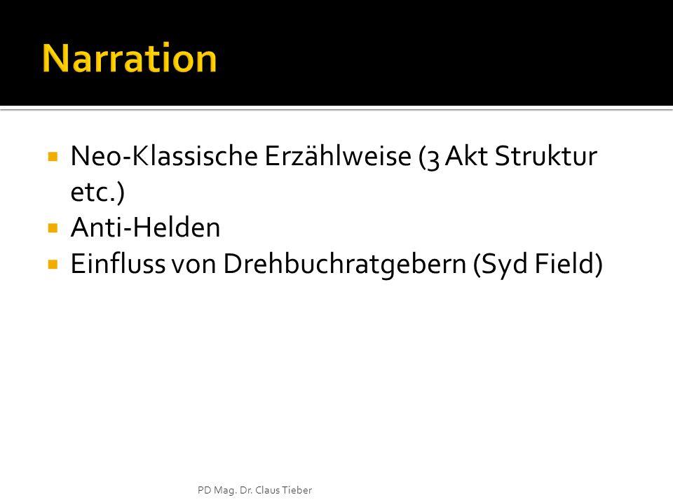  Neo-Klassische Erzählweise (3 Akt Struktur etc.)  Anti-Helden  Einfluss von Drehbuchratgebern (Syd Field) PD Mag.