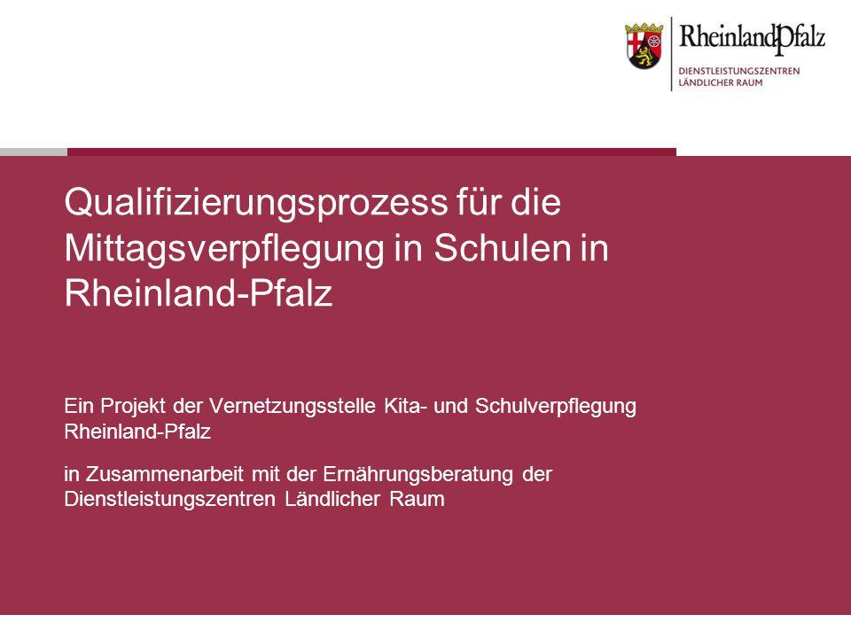 Qualifizierungsprozess für die Mittagsverpflegung in Schulen in Rheinland-Pfalz Ein Projekt der Vernetzungsstelle Kita- und Schulverpflegung Rheinland-Pfalz in Zusammenarbeit mit der Ernährungsberatung der Dienstleistungszentren Ländlicher Raum