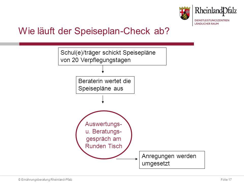 Folie 17© Ernährungsberatung Rheinland-Pfalz Wie läuft der Speiseplan-Check ab.