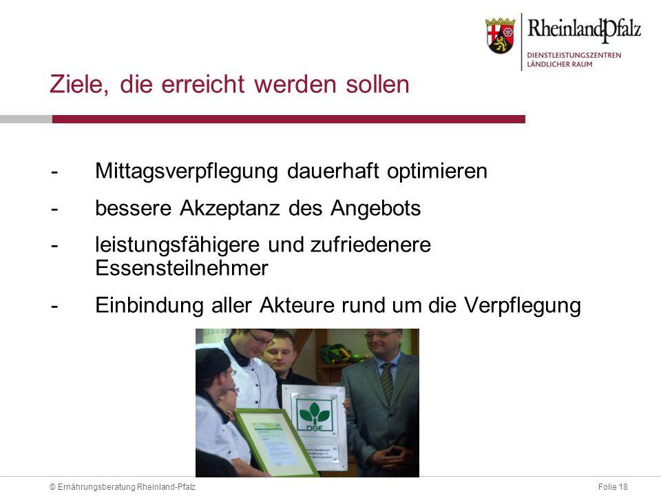 Folie 18© Ernährungsberatung Rheinland-Pfalz Ziele, die erreicht werden sollen -Mittagsverpflegung dauerhaft optimieren -bessere Akzeptanz des Angebots -leistungsfähigere und zufriedenere Essensteilnehmer -Einbindung aller Akteure rund um die Verpflegung