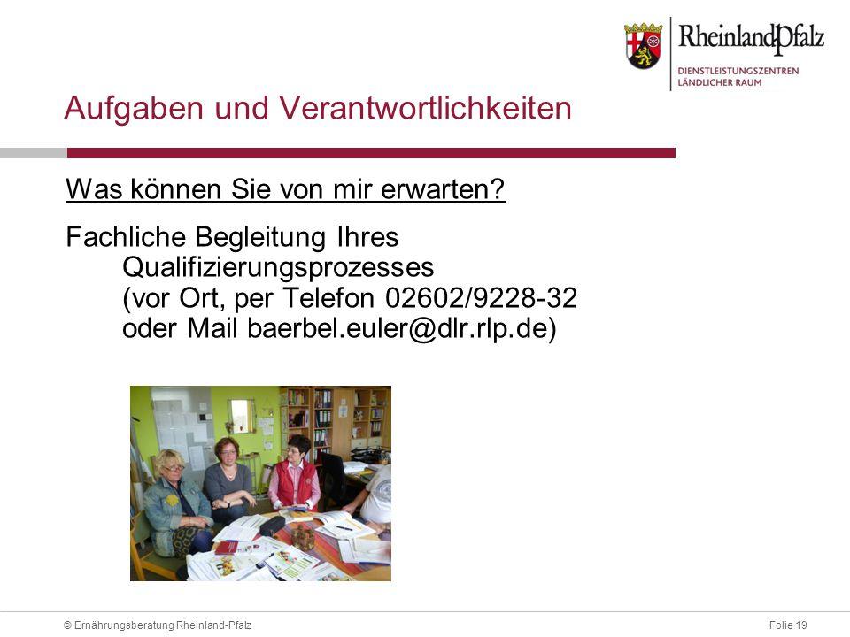 Folie 19© Ernährungsberatung Rheinland-Pfalz Aufgaben und Verantwortlichkeiten Was können Sie von mir erwarten.
