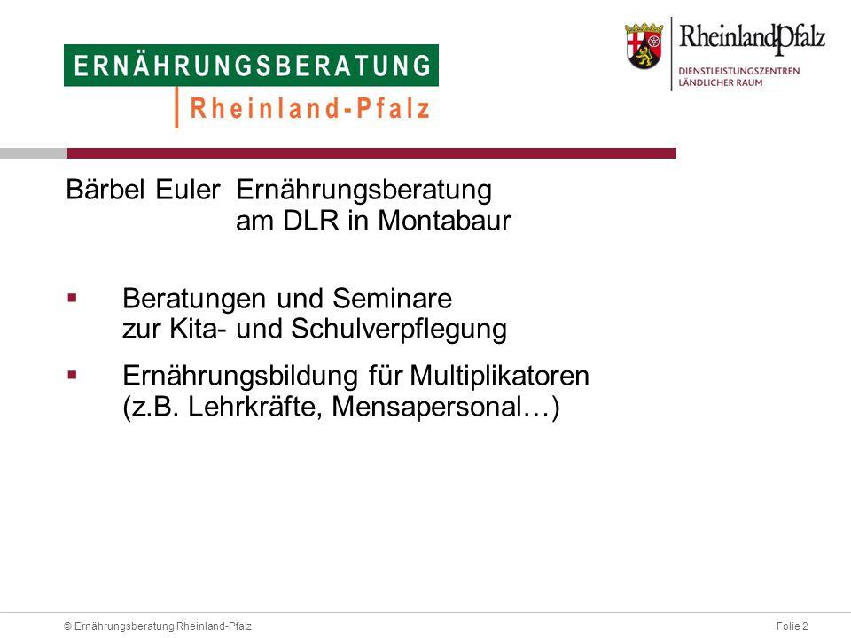 Folie 13© Ernährungsberatung Rheinland-Pfalz Speiseplan-Check / Probeessen verschafft Gewissheit über die ausgeschriebene und erwartete Qualität des Schulessens.