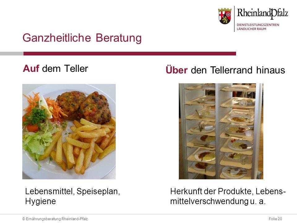 Folie 20© Ernährungsberatung Rheinland-Pfalz Ganzheitliche Beratung Auf dem Teller Lebensmittel, Speiseplan, Hygiene Herkunft der Produkte, Lebens- mittelverschwendung u.