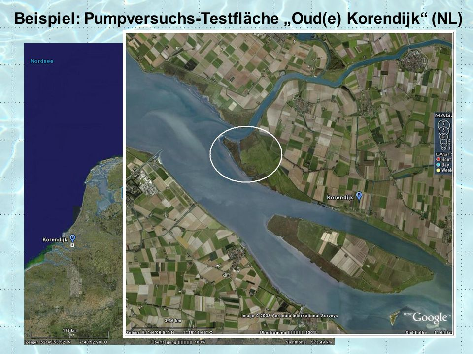 "Krusemann & de Ridder (1994) Beispiel: Pumpversuchs-Testfläche ""Oud(e) Korendijk (NL) Hydrogeologisches Profil und Brunnenanordnung: Förderbrunnen  Q=788 m 3 /d Beobachtungsbrunnen"