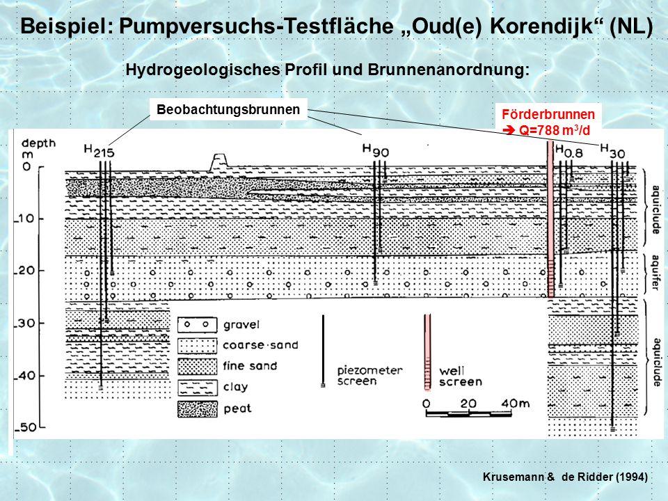"Beispiel: Pumpversuchs-Testfläche ""Oude Korendijk (NL) Krusemann & de Ridder (1994) Pumpversuchs-Daten"