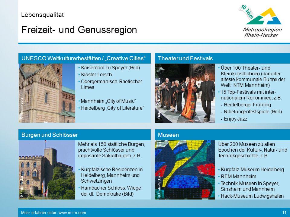 Mehr erfahren unter: www.m-r-n.com 11 Freizeit- und Genussregion Lebensqualität © Rhein-Neckar Mehr als 150 stattliche Burgen, prachtvolle Schlösser und imposante Sakralbauten, z.B.