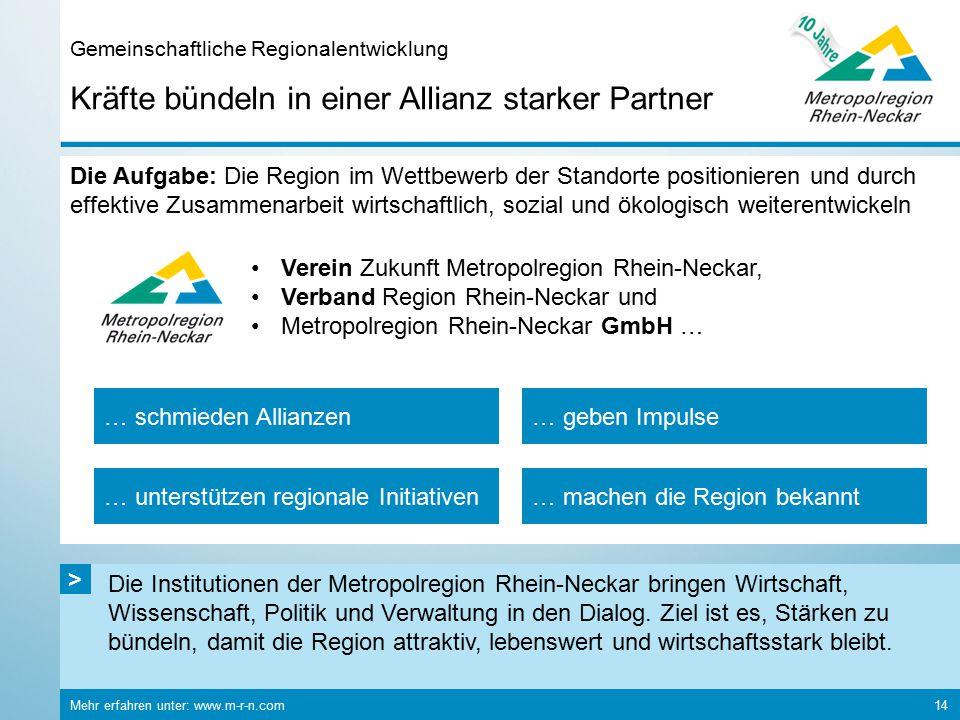 Die Institutionen der Metropolregion Rhein-Neckar bringen Wirtschaft, Wissenschaft, Politik und Verwaltung in den Dialog. Ziel ist es, Stärken zu bünd