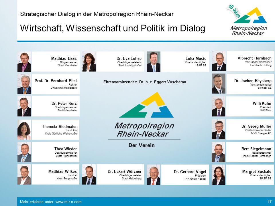 Mehr erfahren unter: www.m-r-n.com 17 Wirtschaft, Wissenschaft und Politik im Dialog Strategischer Dialog in der Metropolregion Rhein-Neckar Matthias
