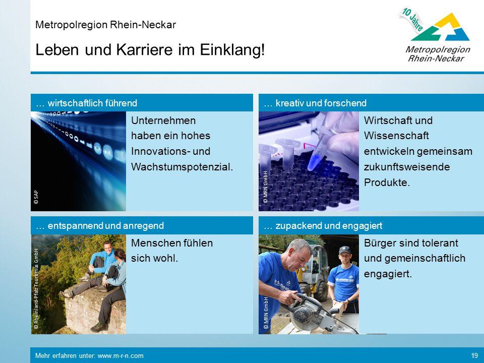 Mehr erfahren unter: www.m-r-n.com 19 Leben und Karriere im Einklang! Metropolregion Rhein-Neckar © Rheinland-Pfalz Tourismus GmbH Menschen fühlen sic