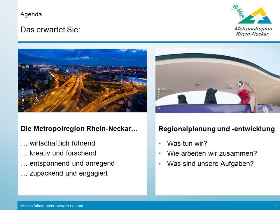 Mehr erfahren unter: www.m-r-n.com 2 Das erwartet Sie: Agenda © Rhein-Neckar Die Metropolregion Rhein-Neckar… … wirtschaftlich führend … kreativ und forschend … entspannend und anregend … zupackend und engagiert Regionalplanung und -entwicklung Was tun wir.