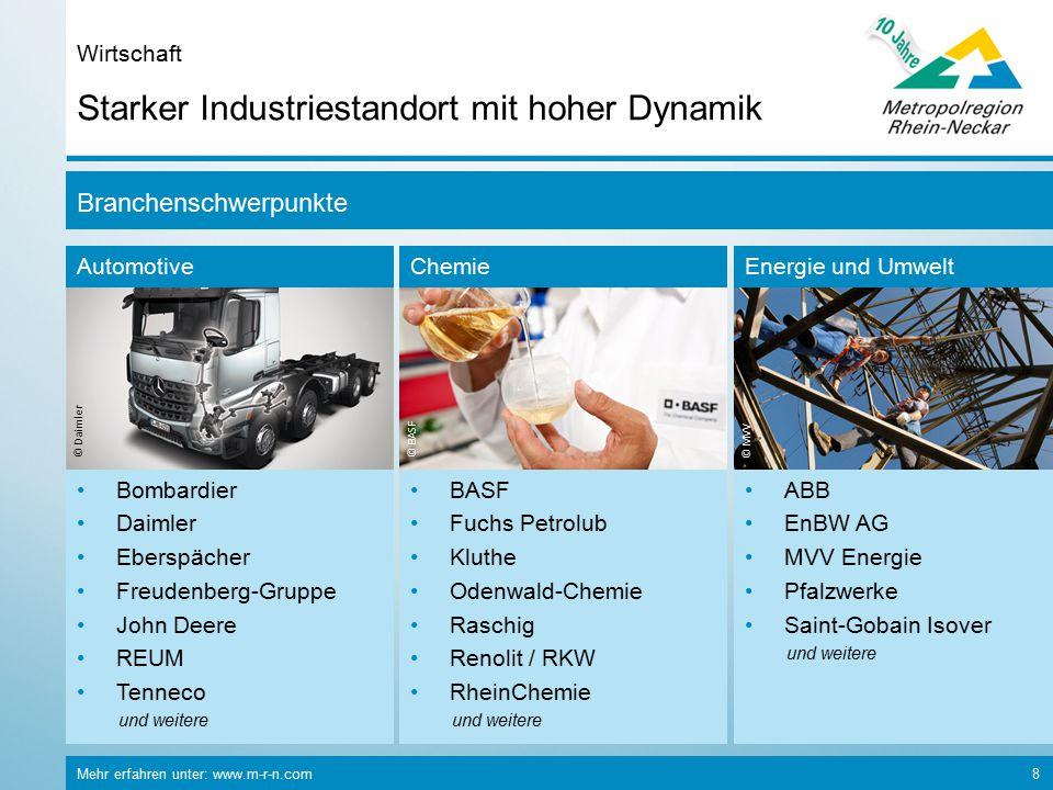 Mehr erfahren unter: www.m-r-n.com 8 Starker Industriestandort mit hoher Dynamik Wirtschaft Branchenschwerpunkte Automotive © Daimler Bombardier Daiml