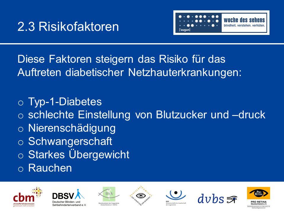 2.3 Risikofaktoren Diese Faktoren steigern das Risiko für das Auftreten diabetischer Netzhauterkrankungen: o Typ-1-Diabetes o schlechte Einstellung von Blutzucker und –druck o Nierenschädigung o Schwangerschaft o Starkes Übergewicht o Rauchen