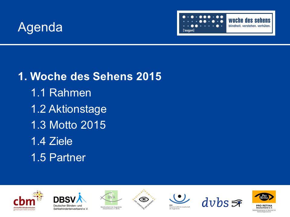 Agenda 1. Woche des Sehens 2015 1.1 Rahmen 1.2 Aktionstage 1.3 Motto 2015 1.4 Ziele 1.5 Partner