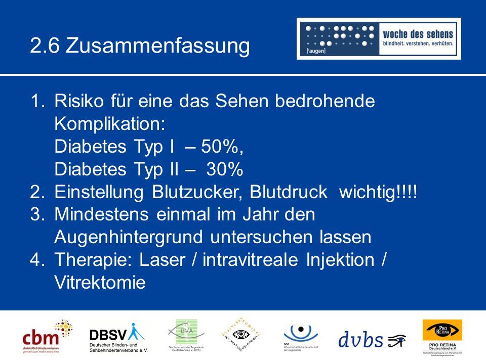 2.6 Zusammenfassung 1.Risiko für eine das Sehen bedrohende Komplikation: Diabetes Typ I – 50%, Diabetes Typ II – 30% 2.Einstellung Blutzucker, Blutdruck wichtig!!!.