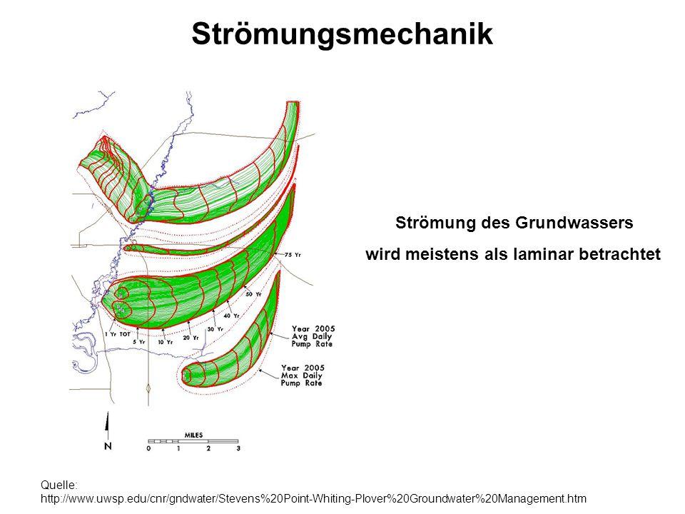 Strömungsmechanik Blattoberfläche Strömung des Grundwassers wird meistens als laminar betrachtet Quelle: http://www.uwsp.edu/cnr/gndwater/Stevens%20Po