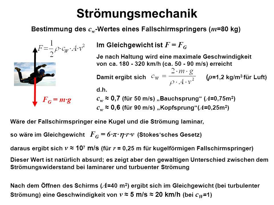 Strömungsmechanik Blattoberfläche Bestimmung des c w -Wertes eines Fallschirmspringers ( m =80 kg) Im Gleichgewicht ist F = F G Je nach Haltung wird e