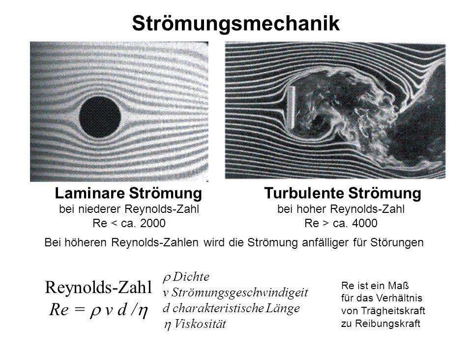 Strömungsmechanik Laminare Strömung Turbulente Strömung bei niederer Reynolds-Zahl Re < ca. 2000 bei hoher Reynolds-Zahl Re > ca. 4000  Dichte v Strö