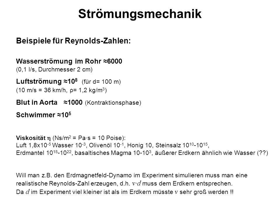Strömungsmechanik Beispiele für Reynolds-Zahlen: Wasserströmung im Rohr ≈6000 (0,1 l/s, Durchmesser 2 cm) Luftströmung ≈10 8 (für d= 100 m) (10 m/s =