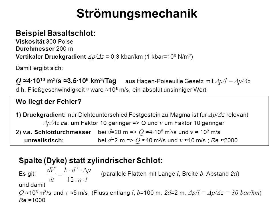 Strömungsmechanik Beispiel Basaltschlot: Viskosität 300 Poise Durchmesser 200 m Vertikaler Druckgradient Δp/Δz = 0,3 kbar/km (1 kbar=10 8 N/m 2 ) Dami