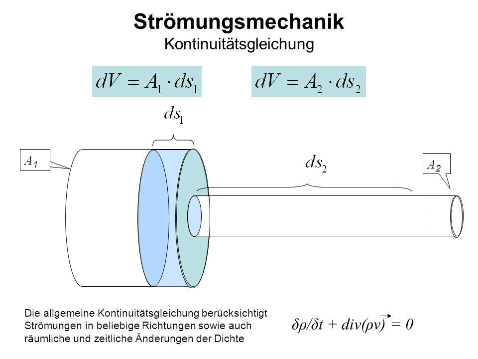 A1A1 A2A2 Strömungsmechanik Kontinuitätsgleichung Die allgemeine Kontinuitätsgleichung berücksichtigt Strömungen in beliebige Richtungen sowie auch rä