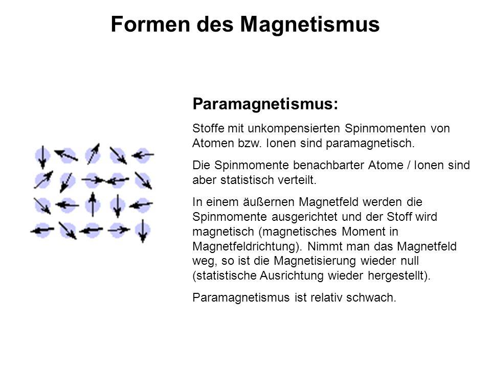 Formen des Magnetismus Paramagnetismus: Stoffe mit unkompensierten Spinmomenten von Atomen bzw. Ionen sind paramagnetisch. Die Spinmomente benachbarte