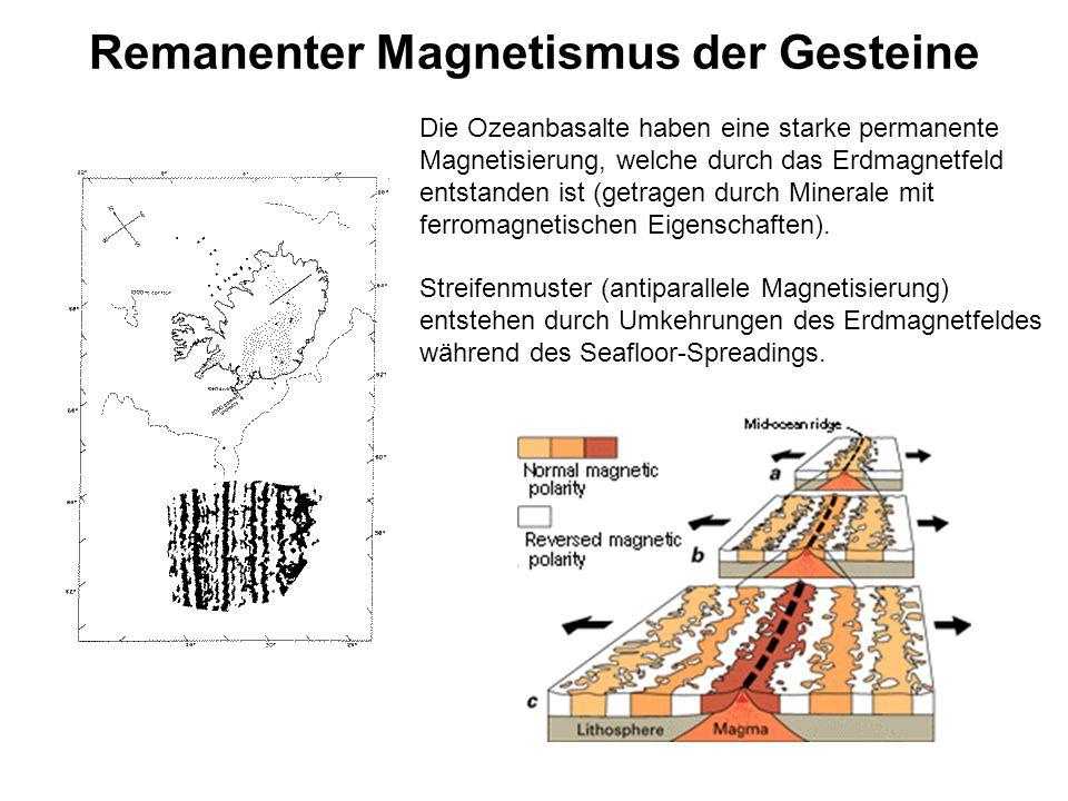 Remanenter Magnetismus der Gesteine Die Ozeanbasalte haben eine starke permanente Magnetisierung, welche durch das Erdmagnetfeld entstanden ist (getra